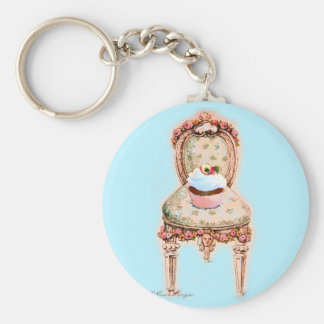 Tea Party Cupcake Design Basic Round Button Key Ring