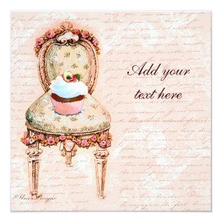 Tea Party Cupcake Victorian Design Invitations