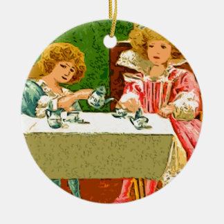 tea Party Round Ceramic Decoration
