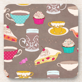 Tea party Dessert Print Cupcake Pie Doodle Beverage Coaster
