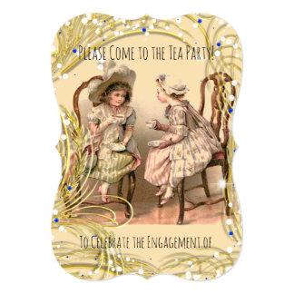 TEA PARTY ENGAGEMENT INVITATION-VINTAGE ART TINT CARD