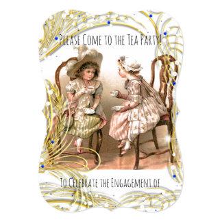 TEA PARTY ENGAGEMENT INVITATION-VINTAGE DESIGN CARD