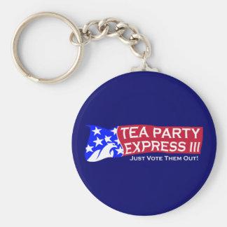 Tea Party Express III Basic Round Button Key Ring