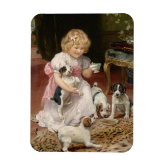 Tea Party for Her Puppies, Magnet