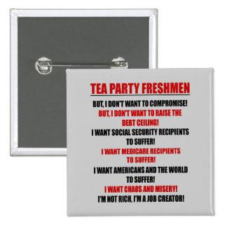 tea party freshmen 15 cm square badge