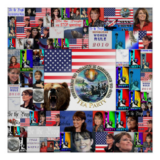 TEA party Grizzly Bear Flag Sarah Palin collage Poster