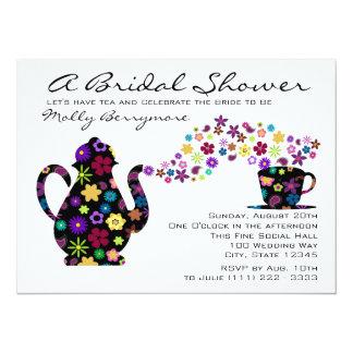 Tea Party Magic Bouquet Bridal Shower 14 Cm X 19 Cm Invitation Card