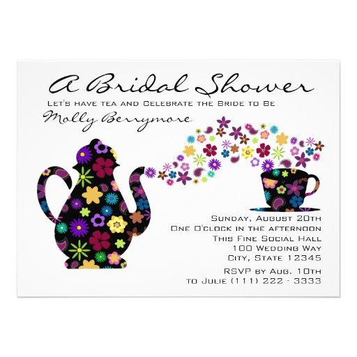 Tea Party Magic Bouquet Bridal Shower Custom Invitations