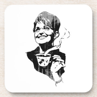 TEA PARTY PALIN Faded.png Beverage Coasters