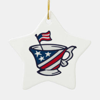 Tea Party Patriotic Red White and Blue with Flag Christmas Tree Ornaments