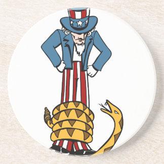 Tea Party Rattlesnake Uncle Sam Drink Coasters