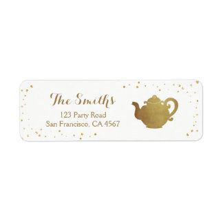 Tea party Return Address Label Teapot gold Bridal