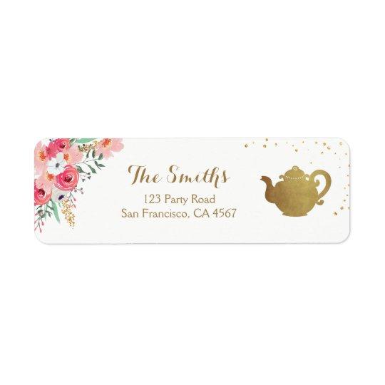 Tea party Return Address Label Teapot gold Floral