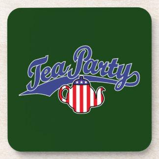 Tea Party Script Logo Coaster