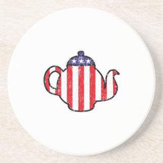 Tea Party Teapot Distressed Logo Beverage Coaster