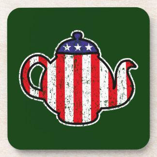 Tea Party Teapot Distressed Logo Beverage Coasters