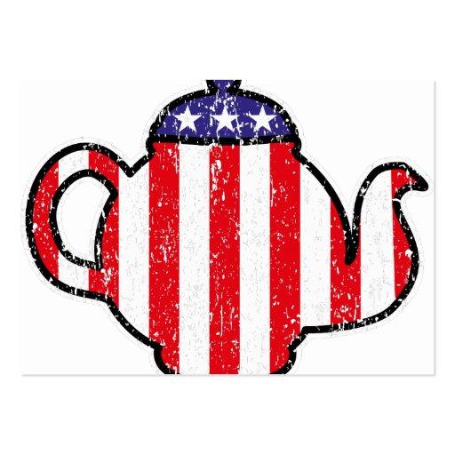 Tea Party Teapot Distressed Logo Business Card