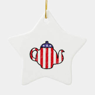 Tea Party Teapot Distressed Logo Ornaments