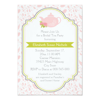 Tea party teapot, paisley pink green bridal shower card