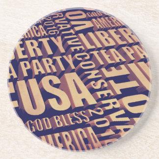 Tea Party Text Beverage Coasters