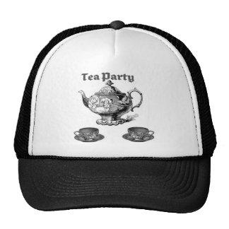 TEA PARTY VINTAGE TEAPOT AND CUPS PRINT CAP