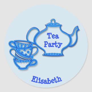 Tea Party with Kettle and Cups Classic Round Sticker