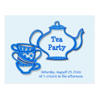 Tea Party with Kettle and Cups Postcard