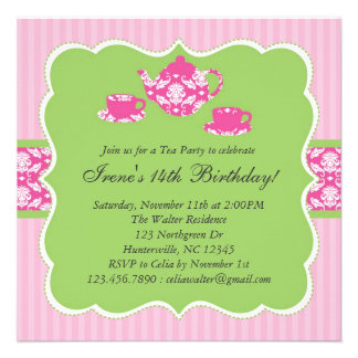 Tea Pot Birthday Party Invitation