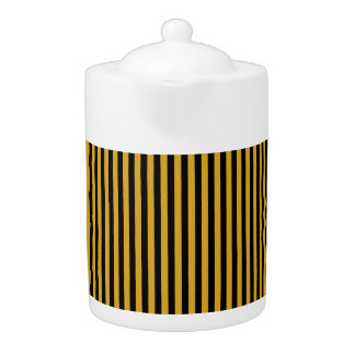 Tea Pot: Black, Goldenrod Vertical Stripes.