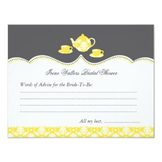 Tea Pot Bridal Shower Advise Card 11 Cm X 14 Cm Invitation Card