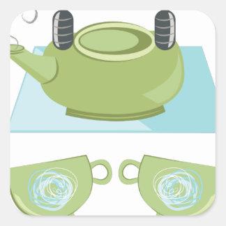Tea Pot Square Sticker