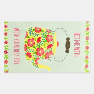 Tea Pot Wrapping Paper Rectangular Sticker