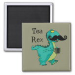 Tea Rex Funny Dinosaur Cartoon Innuendo Square Magnet