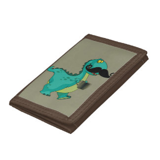Tea Rex Funny Dinosaur with Mustache Innuendo Trifold Wallets