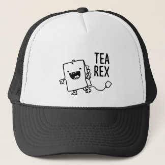 Tea Rex Tea Bag Funny Pun Cartoon Trucker Hat