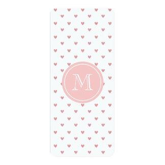 "Tea Rose Pink Glitter Hearts with Monogram 4"" X 9.25"" Invitation Card"