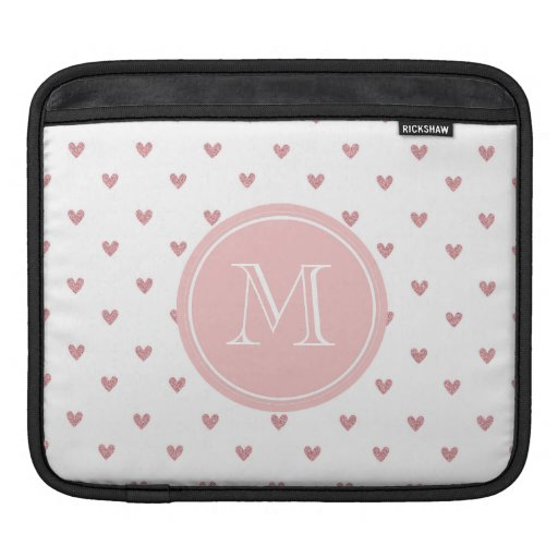 Tea Rose Pink Glitter Hearts with Monogram Sleeves For iPads