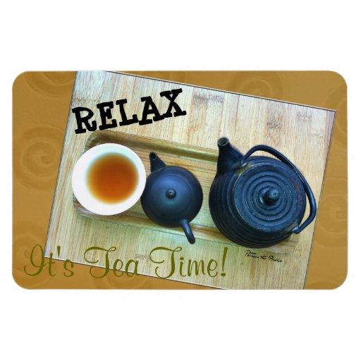 Tea Setting Photograph Overhead View Flexible Magnet