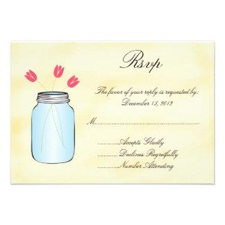 Tea Stained Mason Jar Pink Tulips RSVP Card