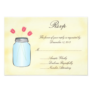 Tea Stained Mason Jar Pink Tulips RSVP Card