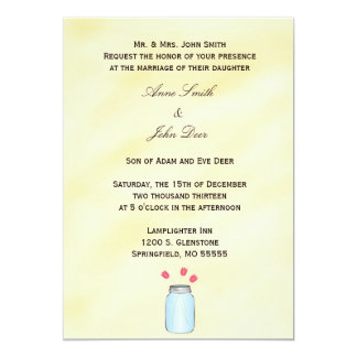 Tea Stained Mason Jar Pink Tulips Wedding Invite