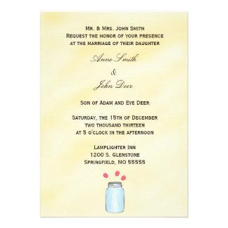 Tea Stained Mason Jar Pink Tulips Wedding Invite