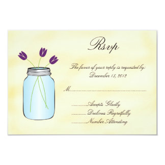 Tea Stained Mason Jar Purple Tulips RSVP Card