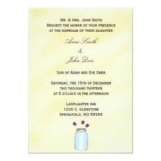 Tea Stained Mason Jar Purple Tulips Wedding Invite