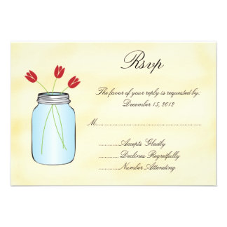 Tea Stained Mason Jar Red Tulips RSVP Card