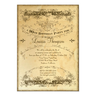 Tea Stained Vintage 90th Birthday Celebration 13 Cm X 18 Cm Invitation Card