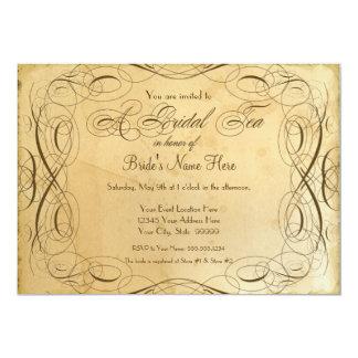 Tea Stained Vintage Wedding 1 - Bridal Tea Party 13 Cm X 18 Cm Invitation Card