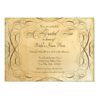 Tea Stained Vintage Wedding 1 - Bridal Tea Party Personalized Invitation