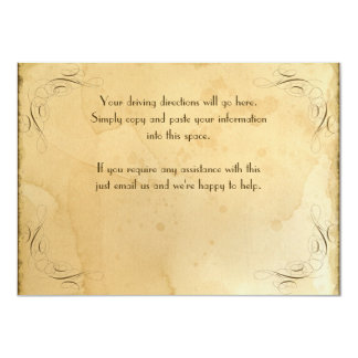 Tea Stained Vintage Wedding 1 - Driving Directions Card
