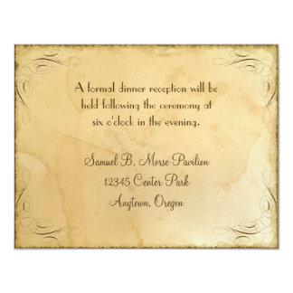 Tea Stained Vintage Wedding 1 - Reception Invite